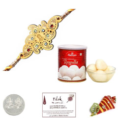 Diviniti 24 Ct. Gold Rakhi with Haldiram Rasgulla