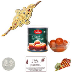 Diviniti 24 Ct. Gold Rakhi  with Haldiram Gulab Jamun