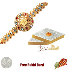 24 Ct. Gold Plated Rakhi with 450 grams Kaju Katli Free Silver Coin