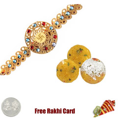 24 Ct. Gold Plated Rakhi with 450 grams Boondi Ladoo Free Silver Coin