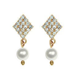 Oviya Gold Plated White Pearl Drop Earring with Austrian Crystal for Women