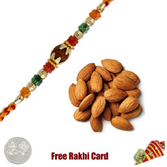 Ethnic Rakhi with 100 grams Almonds