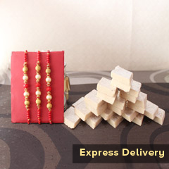 Set of 3 Rakhis with Kaju Katli
