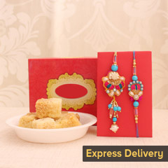 Gorgeous one bhaiya bhabhi rakhi with Milk Cake