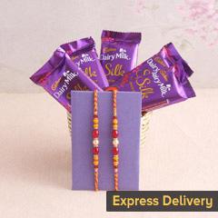 A silky designer Rakhi combo