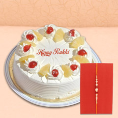 Half Kg Pineapple Cake with Pearl Rakhi
