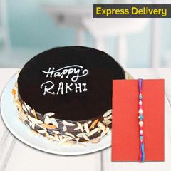 Designer Rakhi with Chocolate Cake
