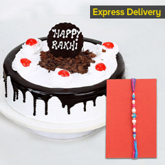 Black Forest Cake with Designer Rakhi