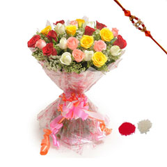 Rakhi with 24 Mixed Roses