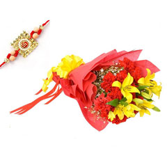 Carnation & Lilies with Rakhi