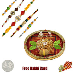 Thali with 5 Designer Rakhis