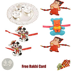 Silver Thali with 5 kids rakhi