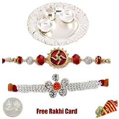 Silver Thali with 2 jewelled rakhi