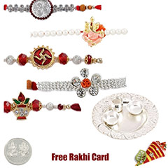 Silver Thali with 5 jewelled rakhi