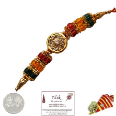 Sparkling Fancy Rakhi with Free Silver Coin