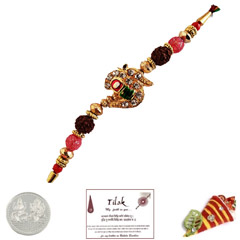 Jewelled Om Rakhi with Free Silver Coin