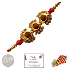 Shiny Triple Rudraksh Rakhi with Free Silver Coin
