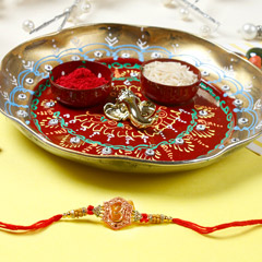 Fancy Aum Rakhi with Puja Thali