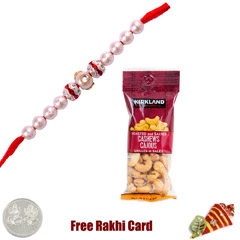 Pearl Rakhi with 50 grams Cashews