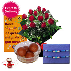 Rakhi with Roses, Gulab Jamun and Greeting Card