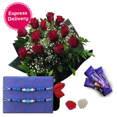 Rakhi with Roses and Chocolates