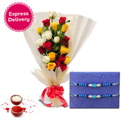 Rakhi with 20 Mixed Roses