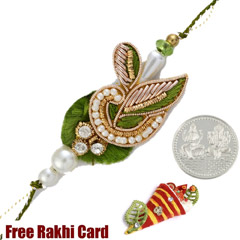 Green Leaf Zardosi Rakhi with Free Silver Coin