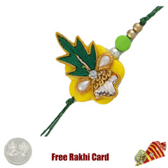 Traditional Zardosi Rakhi with Free Silver Coin