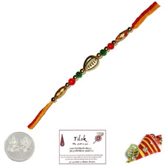 Colorful Single Bead Rakhi with Free Silver Coin