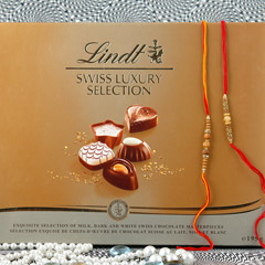 Brother Bonding with Lindt chocolate Rakhi Hamper