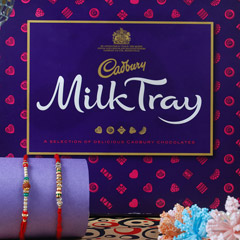 Cadbury With Two Beautiful Rakhi Set