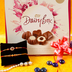 Sandalwood Rakhi set with Milk Chocolate