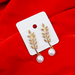 Dazzling Stone Studded Golden Earrings