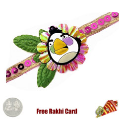 Angry Bird Character Rakhi with a Free Silver Coin