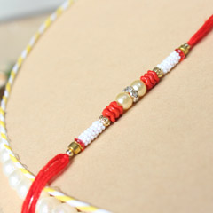 Red & White Beaded Rakhi