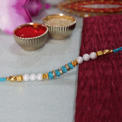Blue, White & Golden Rakhi