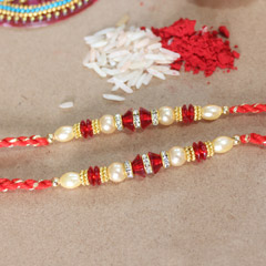Red and Golden Beaded Pearl Rakhis