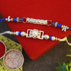 Blue & White Beaded Rakhi Pair