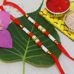 White and Red Beaded Rakhis with Pearls