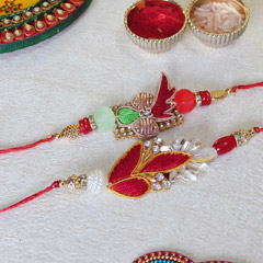 Multicolored Beaded Zardosi Rakhis