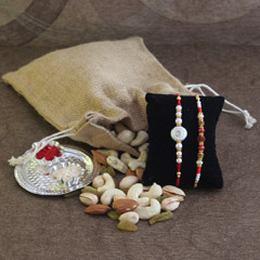 Mix Dry fruit Potli with Rakhis