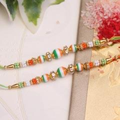 Tricolored 2 Beaded Rakhi set