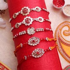 Divine silver Rakhi set of 5