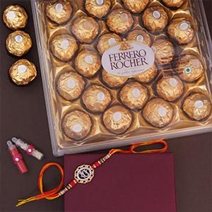 FERRERO CHOCOLATE WITH PEACOCK RAKHI