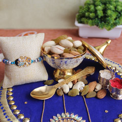 Beautiful Rakhi with nutritious dry fruits