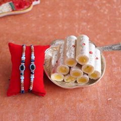 Evil Eye Rakhi Set with Kaju Roll