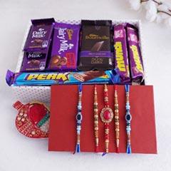 5 Rakhi Set with Chocolates Hamper