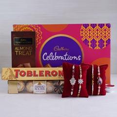 4 Designer Rakhis with Chocolates Hamper