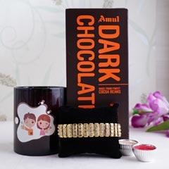 Black Mug with Golden Bracelet Rakhi