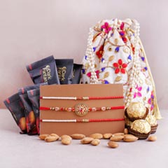 Three Designer Rakhis with Chocolates N Almonds